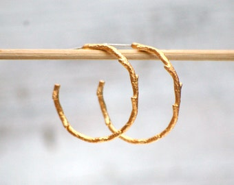 Gold Twig Hoop EARRINGS Tree Branch  Woodland Wedding Forest Nature
