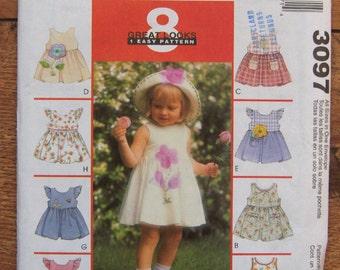 2001 McCalls pattern 3097 infants dress panties and hat applique variations sz 13-24 lbs uncut