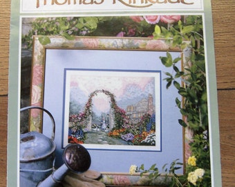 1998 cross stitch pattern Thomas Kinkade The Rose Arbor Cottage book 2
