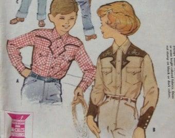 vintage 1959 McCAlls pattern 2367 boy girl western shirt sz 6 uncut