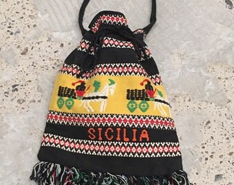 Woven Drawstring Bag - Sicilia Sicily Chariots - Ethnic Weaving - Drawstring Pouch Purse  Black Red Yellow - Bohemian Boho Traveler Traveled