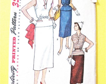 50s Simplicity 4643 Two-Piece Dress Vintage Sewing Pattern Slim Skirt Inverted Pleat Welt Pockets Sleeveless Top Neckband  Bust 34 inches