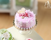 MTO-Beautiful Pink Cake with Raspberries, Heart Cookie, Macaroon etc - Miniature Food for Dollhouse 12th scale 1:12