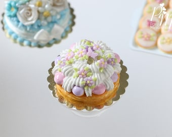 MTO-St Honoré Pastry with Pink Blossoms, Butterfly - Miniature Food for Dollhouse 12th scale 1:12