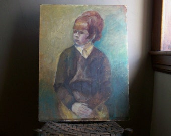 Vintage Painting ~ Large Portrait of Red Headed Girl ~ 60's Appeal
