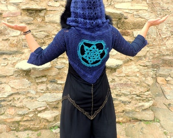 Crochet mandala pixie shrug jacket with fur trim