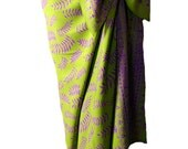 Batik Sarong Skirt Womens Chartreuse and Purple Ferns Forest Fairy Skirt Sarong Pareo Wrap Skirt Swimsuit Coverup Beach Sarong Skirt - Gift