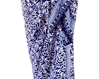 Beach Sarong Pareo Wrap Navy Blue & White Sarong Skirt or Dress - Womens Swimsuit Cover Up - Batik Sarong Beach Wrap - Women's Swimwear