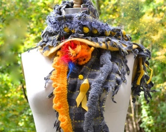 Gray yellow long Scarf Shawl Wrap with feathers, crochet and felted ruffles. Boho accessory