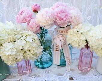Peony Prints, Shabby Chic Decor, Peonies Mason Jars, Peony Photos, Peony Flower Photos, Peonies Print, Pink Peony Spring Flower Photography