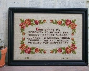 Beautiful Handmade Needlepoint Serenity Prayer / 1979