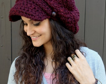 Slouchy Hat Winter Hat Womens Hat Crochet Newsboy Hat Handmade Cap Two Leather Button Band Knit Hat Marsala or CHOOSE Your Color