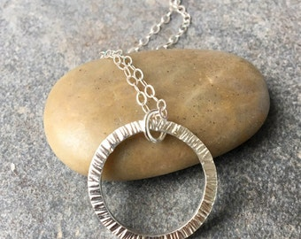 Necklaces, Silver Necklace, Sterling Silver Necklace, Pendant, Infinity Circle Necklace