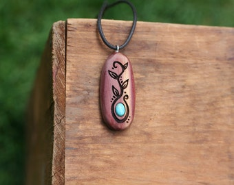 Red Cedar & Turquoise Pendant- Wooden Pendant- Vines Pendant-Sustainable Wood Jewelry- Pendant- Natural Wood Jewelry-