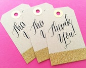 Gold Glitter Wedding Favor Tags, Rustic Kraft Paper Thank You Tags, Gift Tags, Personalized Wedding Favor Tags