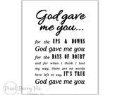 God Gave Me You - song lyrics, 8x10 printable artwork // music gifts  // INSTANT DOWNLOAD, Digital File