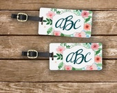 Custom Monogram Cottage Chic Watercolor Floral Personalized Luggage Tags Metal Tag Set - Personalized Address or Info on backs - 2 Tags