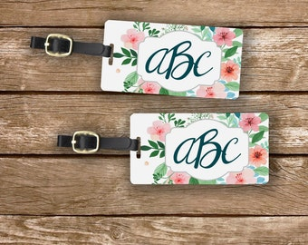 Custom Monogram Cottage Chic Watercolor Floral Personalized Luggage Tags Metal Tag   Single Tag or Set Available