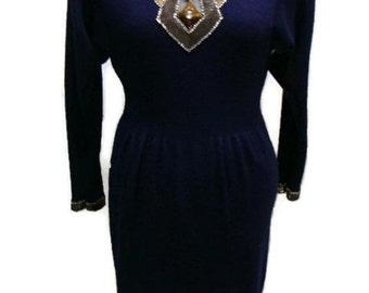 Vintage Navy Blue Dress Vintage Beaded Navy Knit Dress Long Sleeve Vintage Dresses Vintage Evening Dresses Vintage Midi Dress Navy Dress