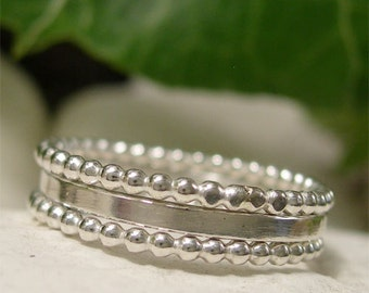 Sterling Silver Three Ring Stacking Set, Dainty Rings, Plain Polished & Beaded Silver Rings, Hand Forged Eclectic Boho Jewelry Ring Stack