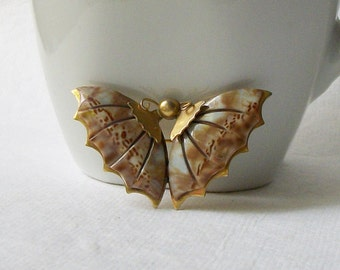 Vintage Butterfly Shell Brooch, Vintage Butterfly Jewelry