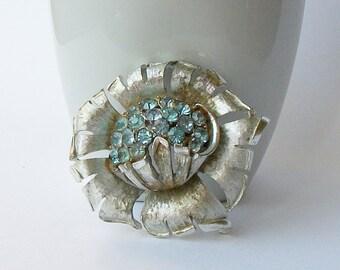 Vintage Rhinestone Blue Flower Brooch, Something Blue something old something blue