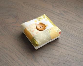Modern Square PincushionGreen and Yellow Floral Pin Keep Scrappy Pin Cushion