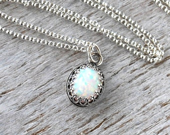 Opal Necklace, Sterling Silver Opal Birthstone Necklace, October Birthstone Necklace, Opal Gemstone
