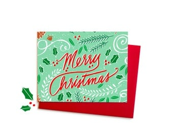 Merry Christmas Greenery, Traditional Christmas Card with Pine Branches, Berries, Acorns and Pinecones