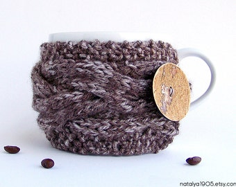 Coffee Cup Sleeve, Coffee Cozy, Coffee Cup Cozy, Tea Cozy, Mug Warmer, Coffee Mug Cozy, Coffee Sleeve, Chunky Knit, Rustic Wedding Favors