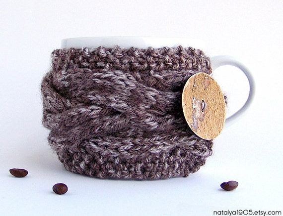 Coffee Cup Sleeve, Coffee Cozy, Coffee Cup Cozy, Tea Cozy, Mug Warmer, Coffee Mug Cozy, Coffee Sleeve, Chunky Knit, Rustic Gifts Under 20