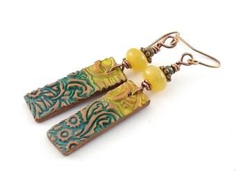 Yellow and Teal Earrings - Teal Earrings - Copper Earrings - Antique Copper - Lightweight Earrings - Boho Earrings - Polymer Clay - AE020