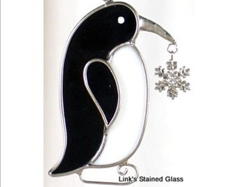 Stained Glass Penguin Sun Catcher