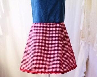Med/Large Gingham jean Dress/Folk Art Clothing/Music Festival Clothing/Bonnaroo/Americana Folk Art Clothing/Red and White Gingham/Jean Dress