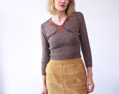 50s sweater. cropped sweater. embroidered wool sweater - xs