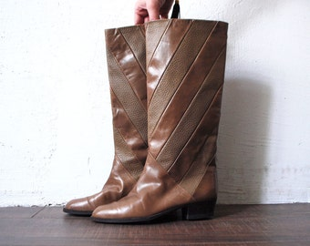 80s BALLY boots. tan leather boots. tall boots. made in Italy riding boots - eur 38 us 7.5 uk 5