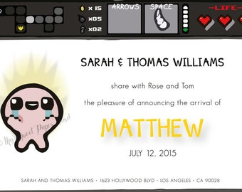 Digital Birth Announcement - Binding of Isaac