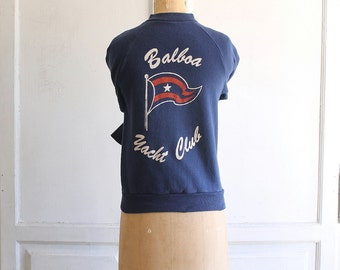 vintage 70s graphic sweatshirt Balboa Yacht Club made in usa