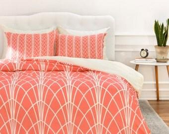 Geometric Duvet Cover // Twin, Queen, King Sizes // Home Decor // Bedding // Arcada Persimmon Design // Modern Geometric //  Bedroom