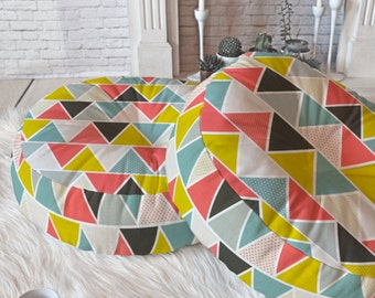 Geometric Floor Pillows // Round and Square // Modern Living // Dorm Decor // Floor Cushion // Home Decor // Triangulum Design // Colorful