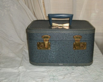 Vintage 1940s Blue Vinyl and Brasstone Traincase New Lining So Retro!