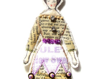 Pansy Flower Lady Small Flat Doll Ornament Handmade Modern Vintage Look Fabric Doll Decoration Embellished  Textile Art Doll Fabric Ornament