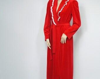 Red Robe Vintage Robe Plush Long Robe Bath Robe Lace Robe Size Small - Medium