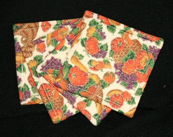 Coasters, cloth, fall themed, vegetables, square