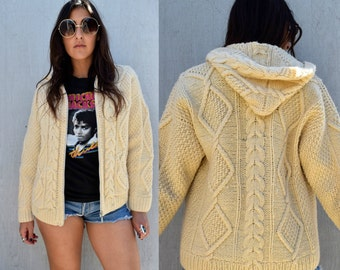 Vintage 70s IRISH FISHERMAN Cable Knit Zip Up Cardigan Sweater with Hood  S