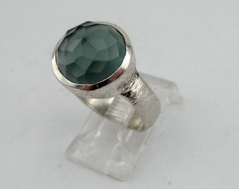 Great Sterling Silver Green Tourmaline Ring size 8, Super Sale, 925 Tourmaline ring. Green stone ring, Israeli Jewelry, Ready to ship