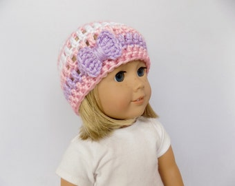 Doll Hat with Bow, Doll Accessories, Pink and Purple Doll Beanie, 18 Inch Doll