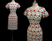 SALE Vintage 1950s Red Roses Embroidered Cotton Hourglass Wiggle Dress M
