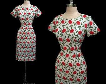 Vintage 1950s Red Roses Embroidered Cotton Hourglass Wiggle Dress M