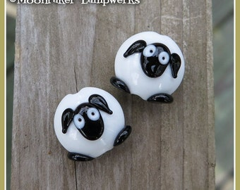 Sheep Lentil Lampwork Bead